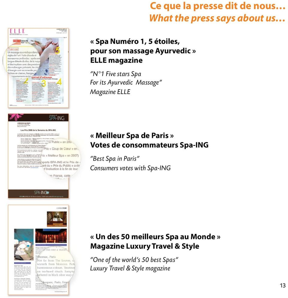 Paris» Votes de consommateurs Spa-ING Best Spa in Paris Consumers votes with Spa-ING «Un des 50
