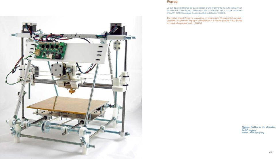 The goal of project Reprap is to conceive an open-source 3D printer that can replicate itself. A well known Reprap is the Makerbot.
