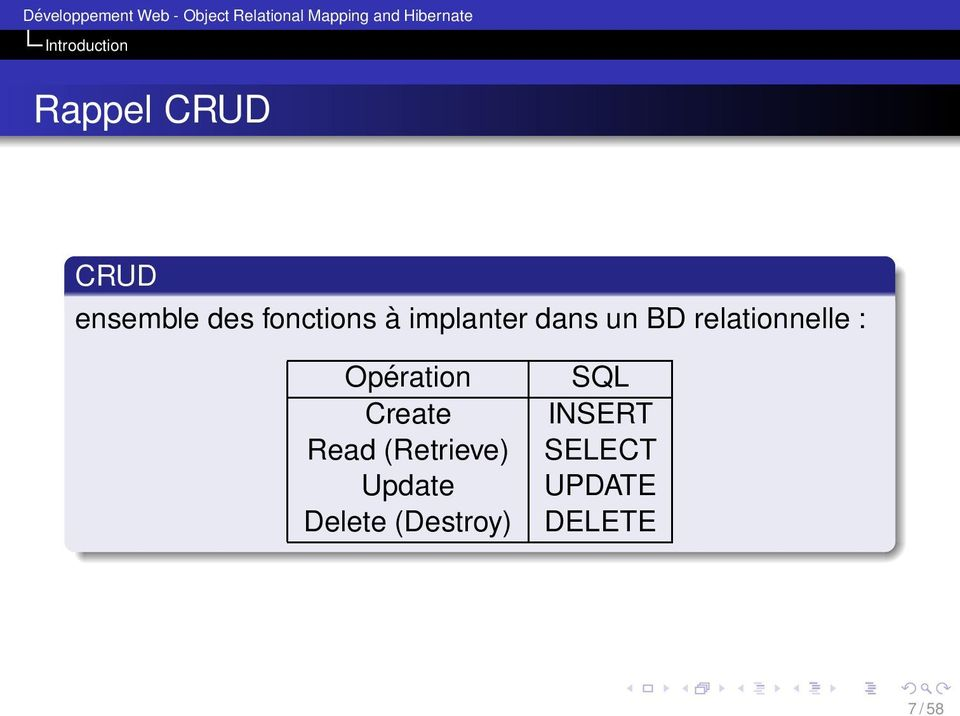 relationnelle : Opération Create Read