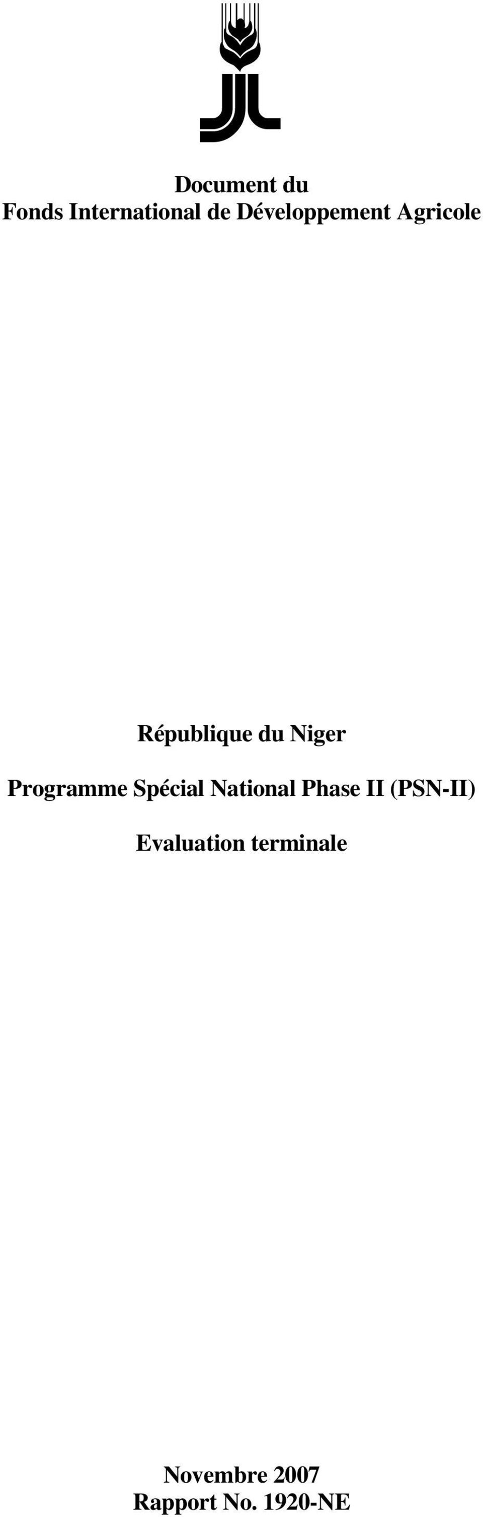Programme Spécial National Phase II (PSN-II)