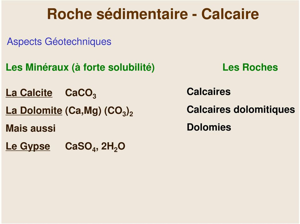 Dolomite (Ca,Mg) (CO 3 ) 2 Mais aussi Le Gypse CaSO 4,