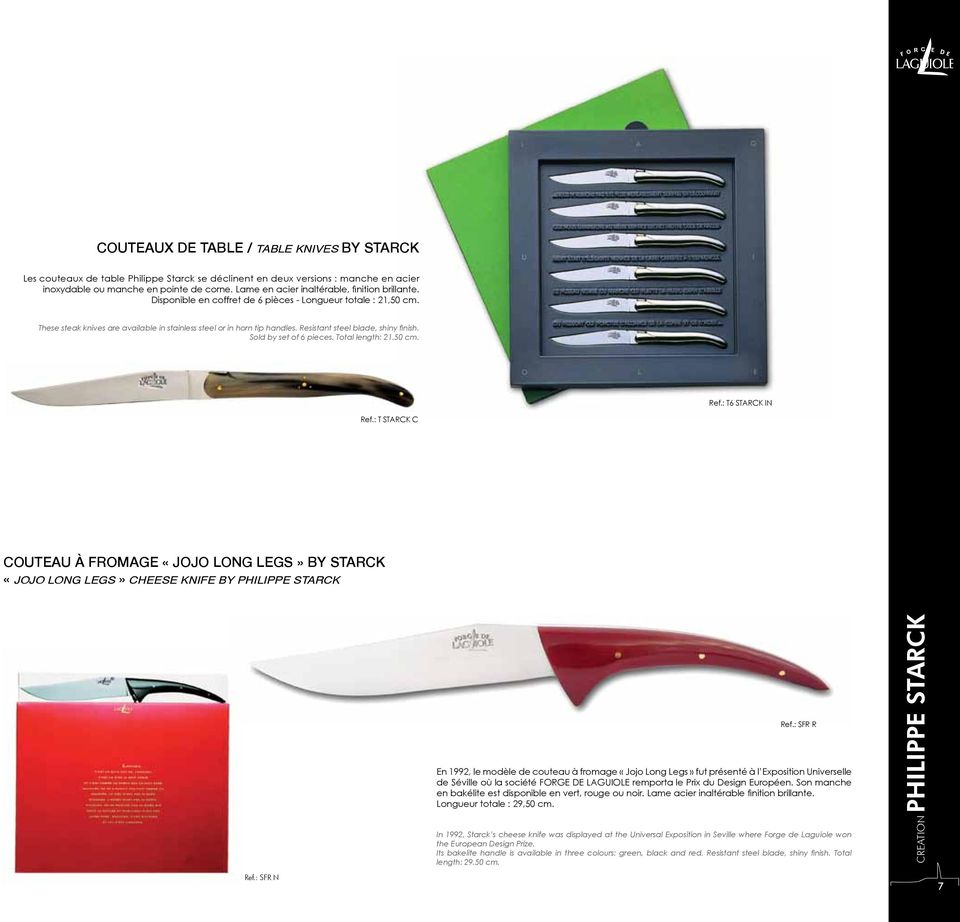 Resistant steel blade, shiny finish. Sold by set of 6 pieces. Total length: 21.50 cm. Ref.: T6 STARCK IN Ref.
