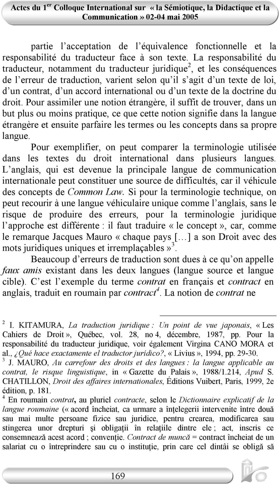 international ou d un texte de la doctrine du droit.
