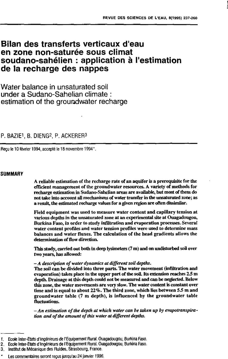 SUMMARY A reliable estimation of the recharge rate of an aquifer is a prerequisite for the efficient management of the groundwater resources.
