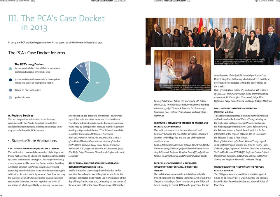 The PCA s Case Docket for 2013 The PCA s 2013 Docket 62 cases under bilateral/multilateral investment 8% 4% President of the Tribunal, Party Representatives, and PCA Registry at the 21 September 2013