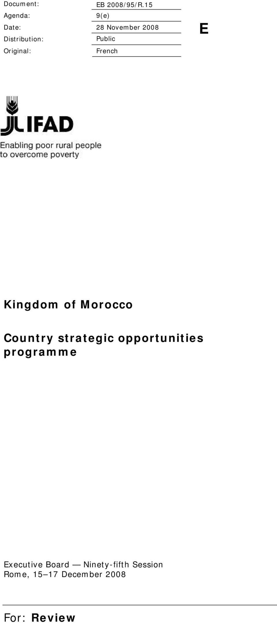 Original: French E Kingdom of Morocco Country strategic