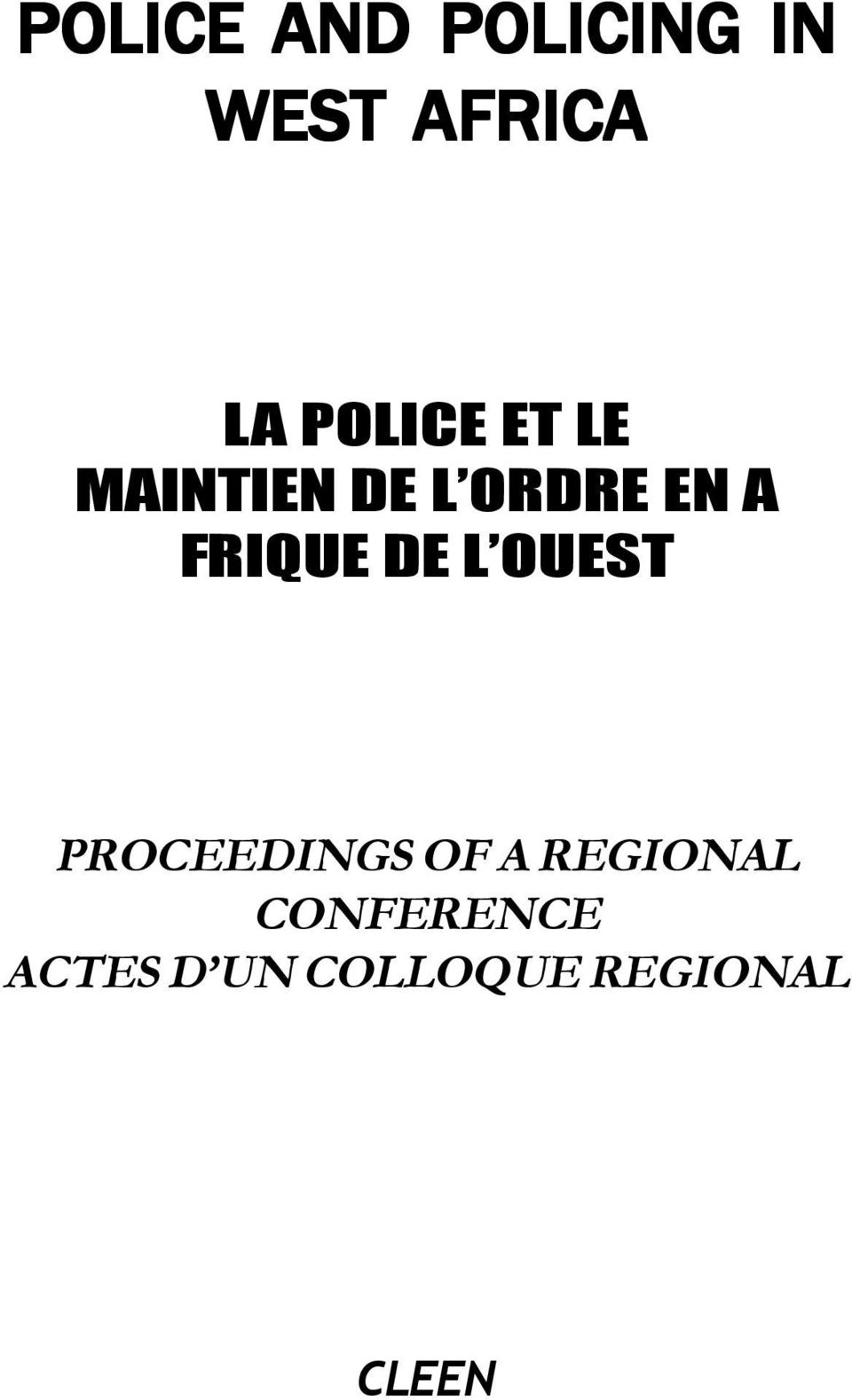 FRIQUE DE L OUEST PROCEEDINGS OF A