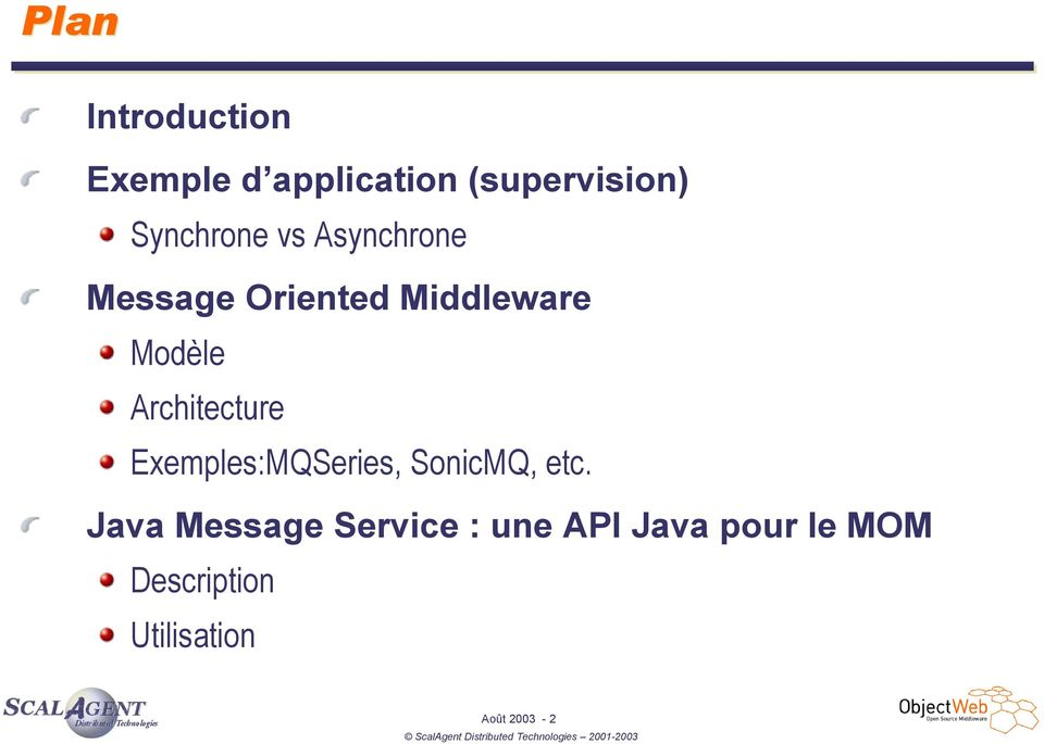 Architecture Exemples:MQSeries, SonicMQ, etc.