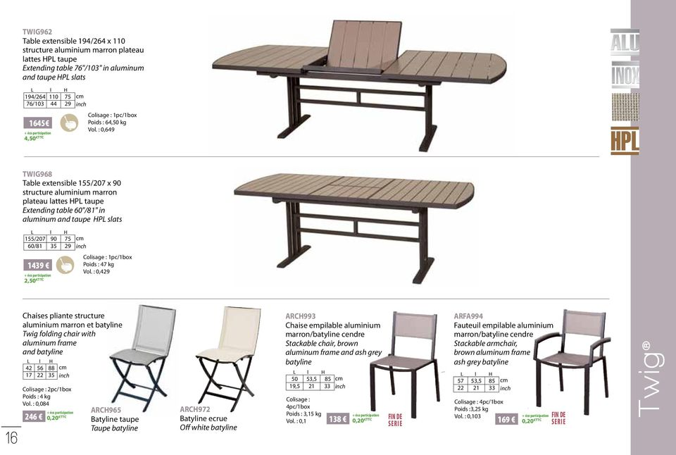 ": 0,649 TWIG968 Table extensible 155/207 x 90 structure aluminium marron plateau lattes HPL taupe Extending table 60""/81"" in aluminum and taupe HPL slats 155/207 90 75 60/81 35 29 1439 2,50 TTC Poids"