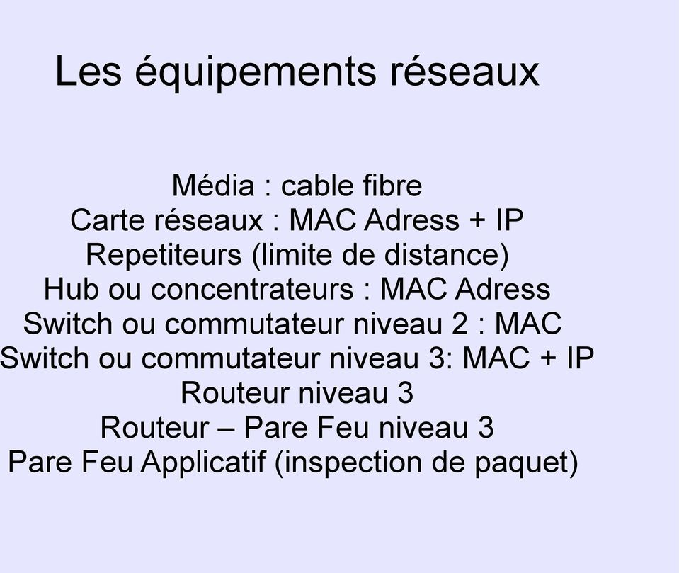 ou commutateur niveau 2 : MAC Switch ou commutateur niveau 3: MAC + IP