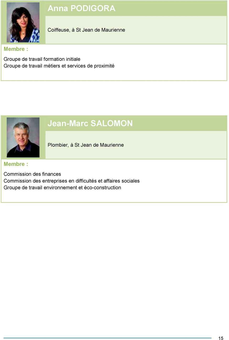 Plombier, à St Jean de Maurienne Commission des finances Commission des