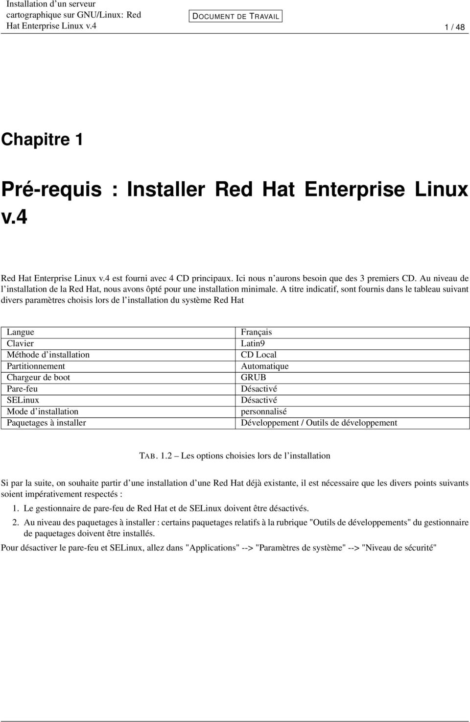 A titre indicatif, sont fournis dans le tableau suivant divers paramètres choisis lors de l installation du système Red Hat Langue Clavier Méthode d installation Partitionnement Chargeur de boot