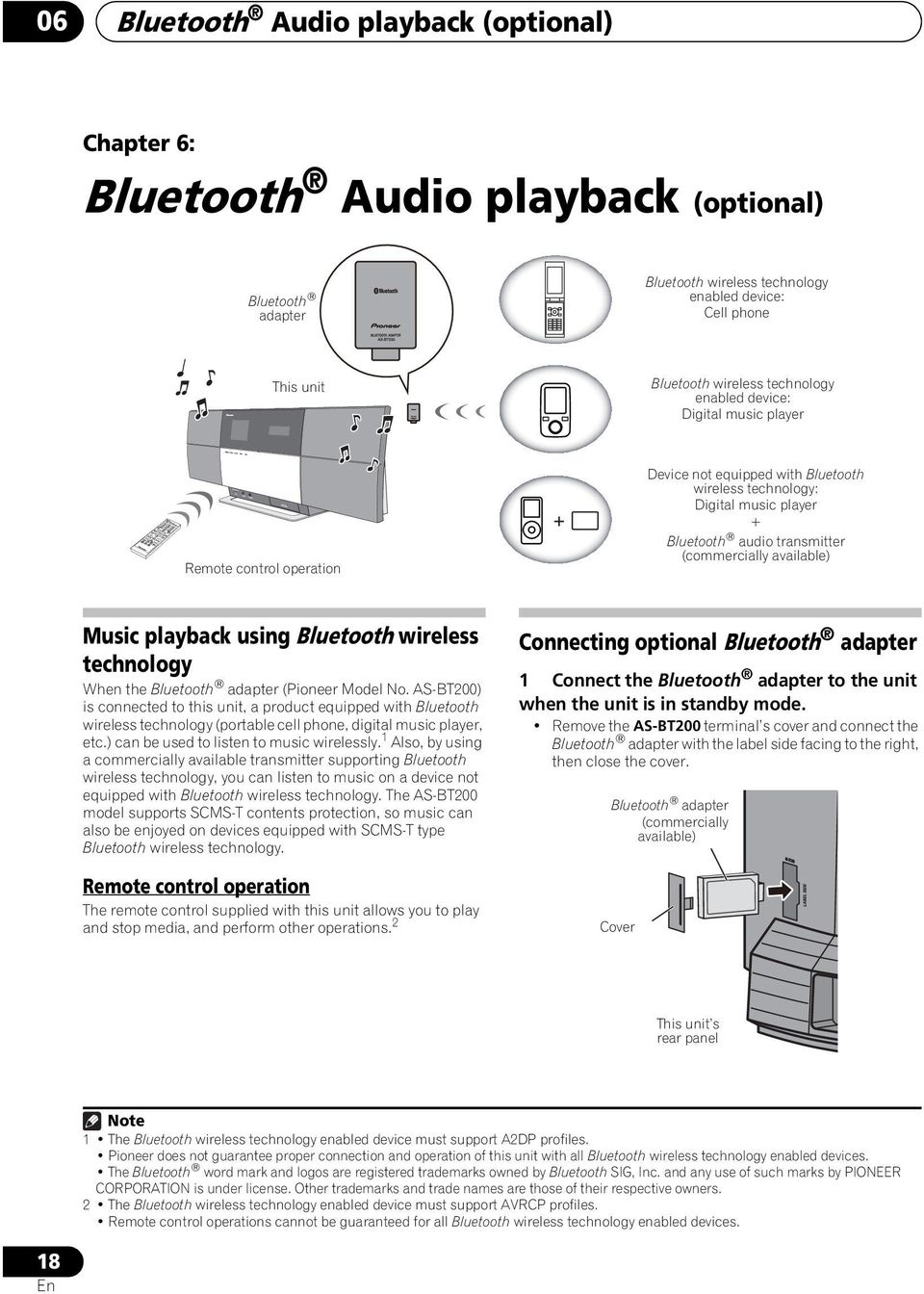 available) Music playback using Bluetooth wireless technology When the Bluetooth adapter (Pioneer Model No.