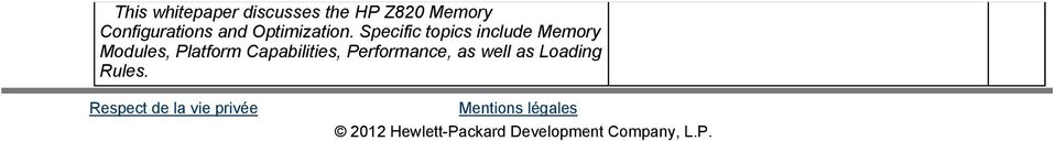 Specific topics include Memory Modules, Platform Capabilities,