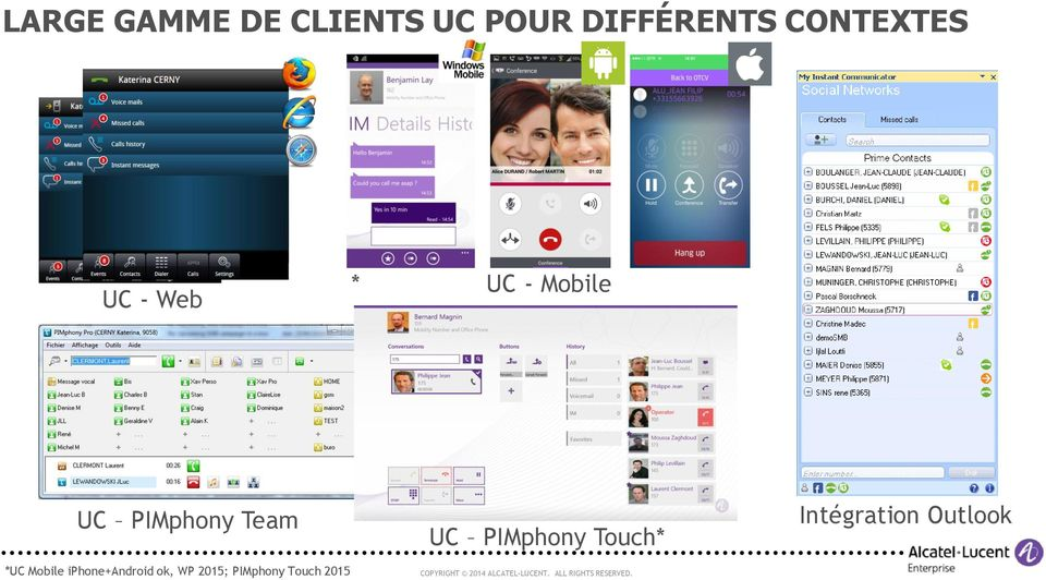 Team UC PIMphony Touch* Intégration Outlook *UC