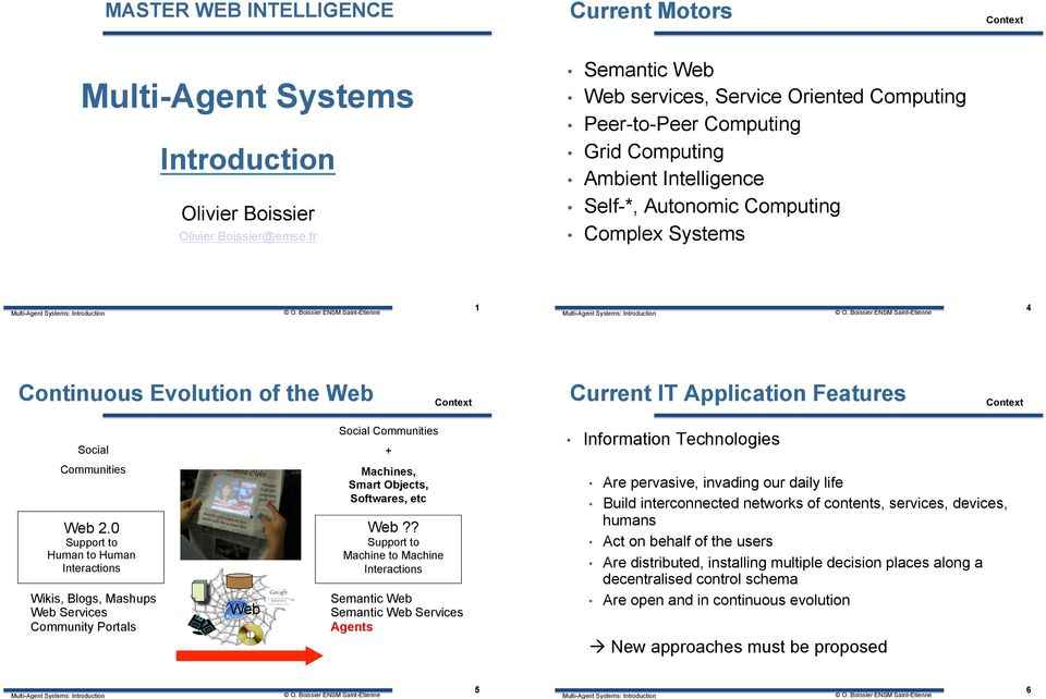 Context Current IT Application Features Context Social Social Communities + Information Technologies Communities Web 2.