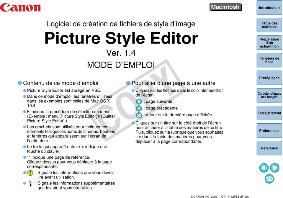 (Exemple : menu [Picture Style Editor] [Quitter Picture Style Editor].
