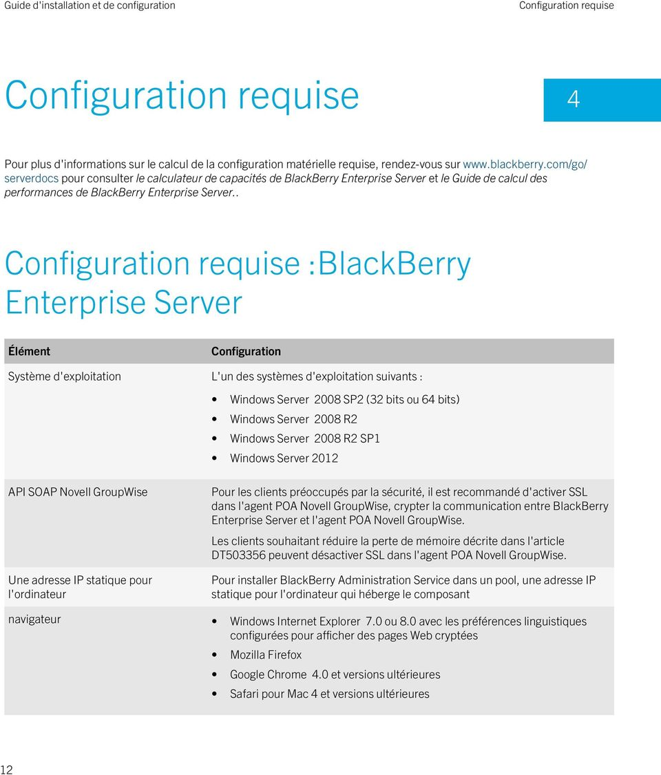 . Configuration requise :BlackBerry Enterprise Server Élément Configuration Système d'exploitation L'un des systèmes d'exploitation suivants : Windows Server 2008 SP2 (32 bits ou 64 bits) Windows