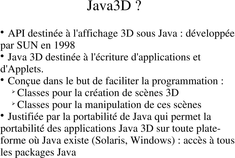d'applications et d'applets.