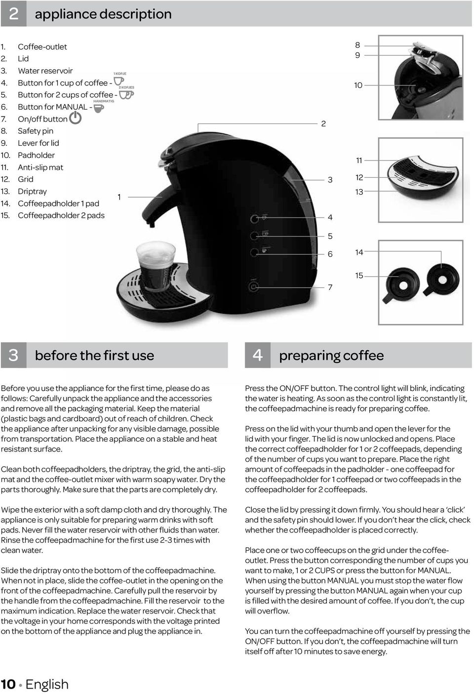 Coffeepadholder 2 pads 1 2 3 4 5 6 7 8 9 10 11 12 13 14 15 3 before the first use 4 preparing coffee Before you use the appliance for the first time, please do as follows: Carefully unpack the