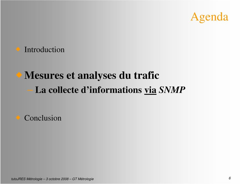 informations via SNMP Conclusion