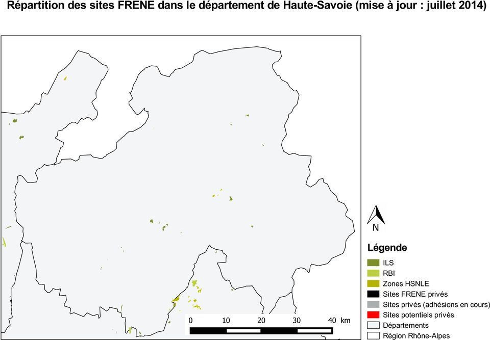 Légende ILS RBI Zones HSNLE Sites FRENE privés Sites privés