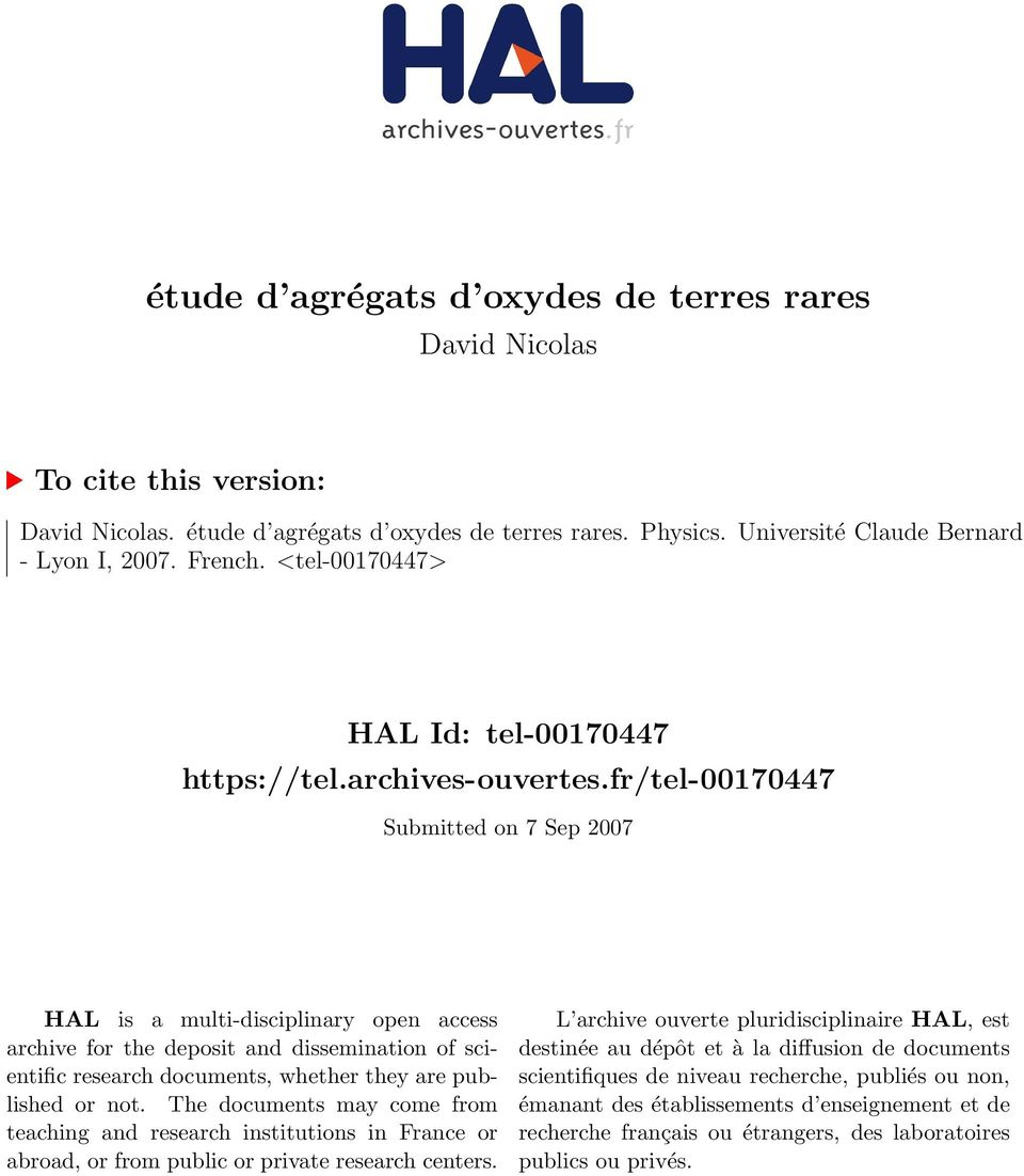 fr/tel-00170447 Submitted on 7 Sep 2007 HAL is a multi-disciplinary open access archive for the deposit and dissemination of scientific research documents, whether they are published or not.
