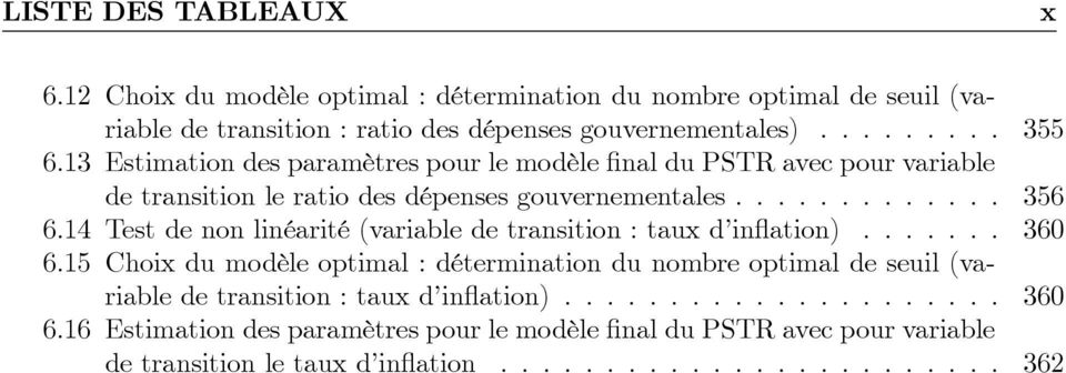 14 Test de non linéarité (variable de transition : taux d in ation)....... 360 6.