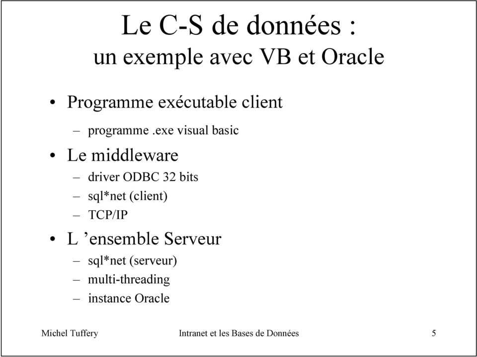 exe visual basic Le middleware driver ODBC 32 bits sql*net (client)
