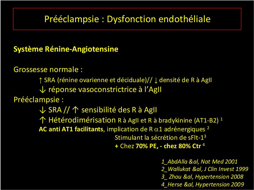 bradykinine (AT1-B2) 1 AC anti AT1 facilitants, implication de R 1 adrénergiques 2 Stimulant la sécrétion de sflt-1 3 + Chez 70% PE, -