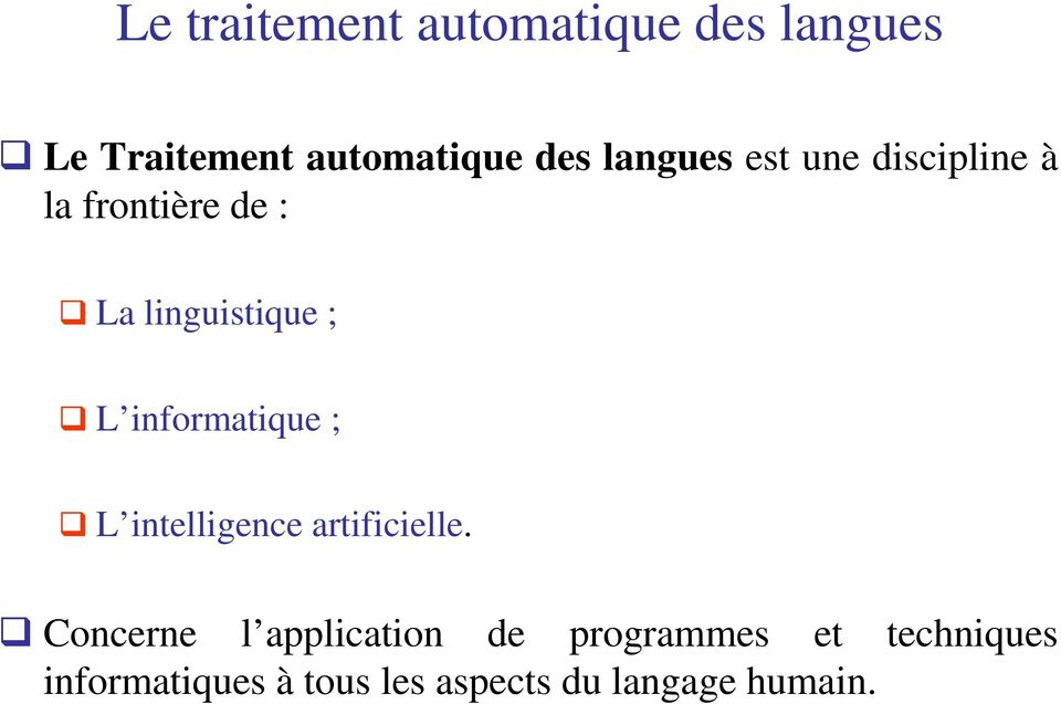 informatique ; L intelligence artificielle.