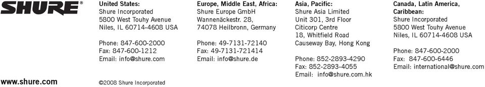28, 74078 Heilbronn, Germany Phone: 49-7131-72140 Fax: 49-7131-721414 Email: info@shure.