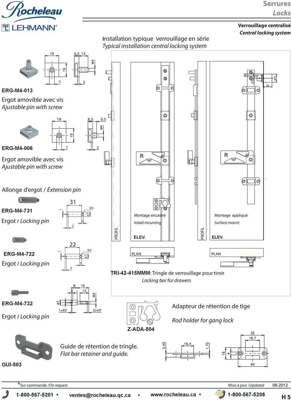 mount ERG-M4-7 Ergot / Locking pin ELEV. PLAN ELEV.