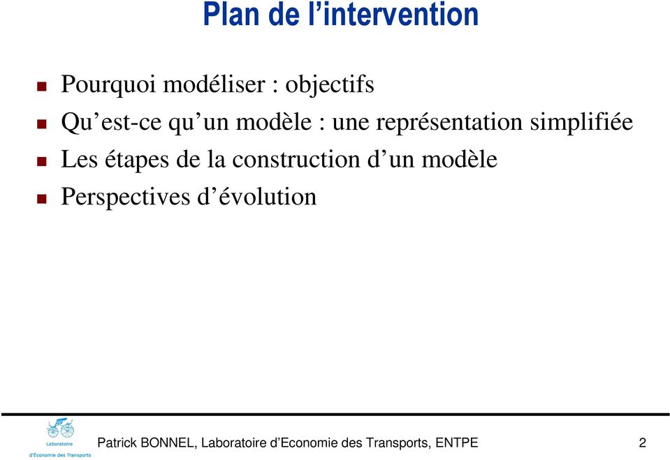 étapes de la construction d un modèle Perspectives d