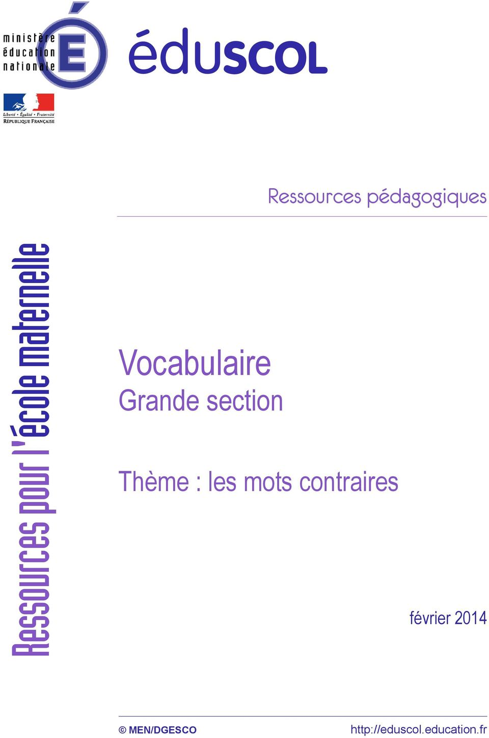 Vocabulaire Grande section février