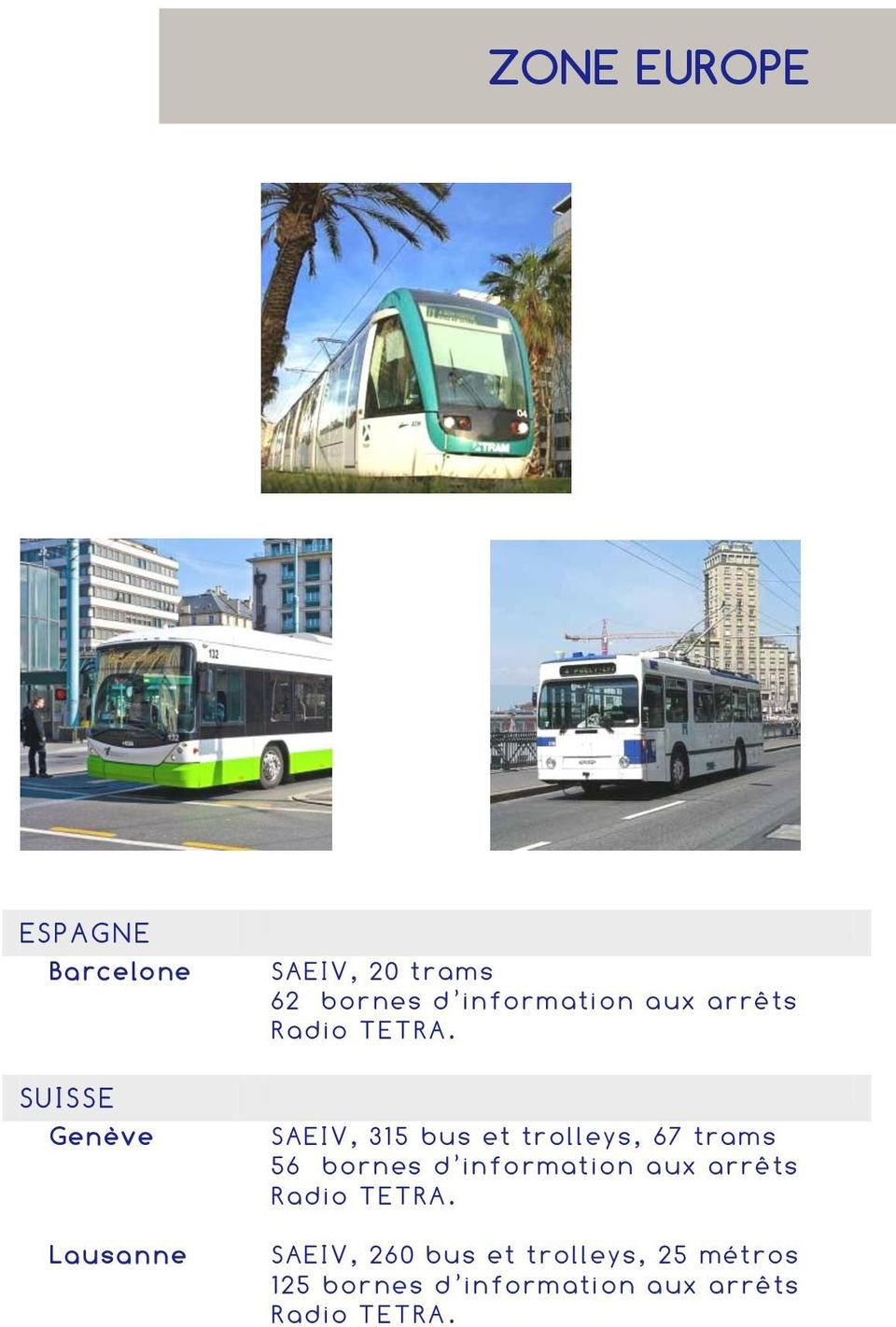 SAEIV, 315 bus et trolleys, 67 trams 56 bo rnes d in fo rmat ion a ux arr êts