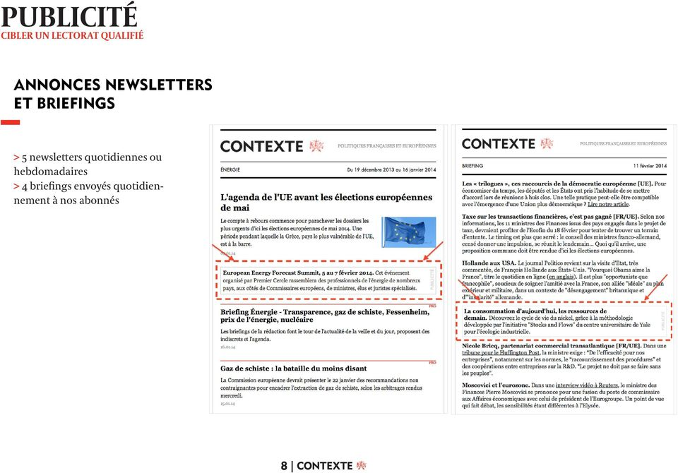 newsletters quotidiennes ou hebdomadaires