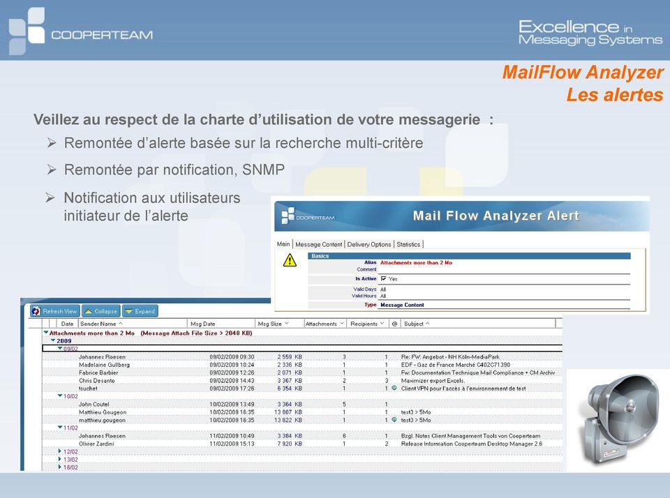 multi-critère Remontée par notification, SNMP MailFlow