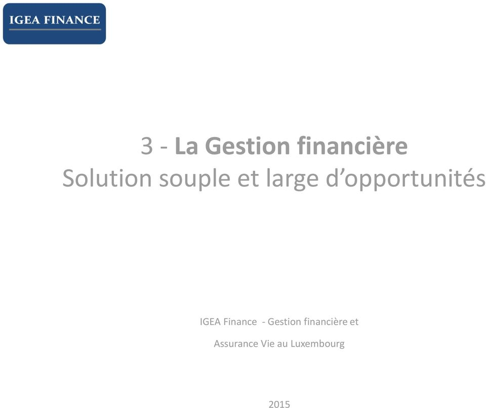 opportunités IGEA Finance -