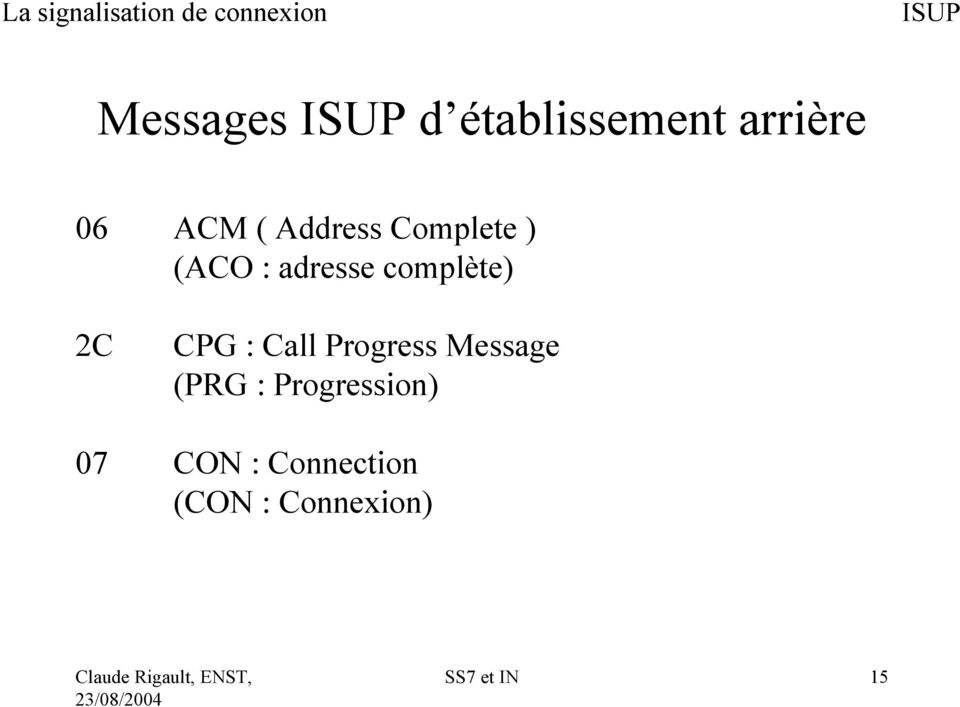 CPG : Call Progress Message (PRG :