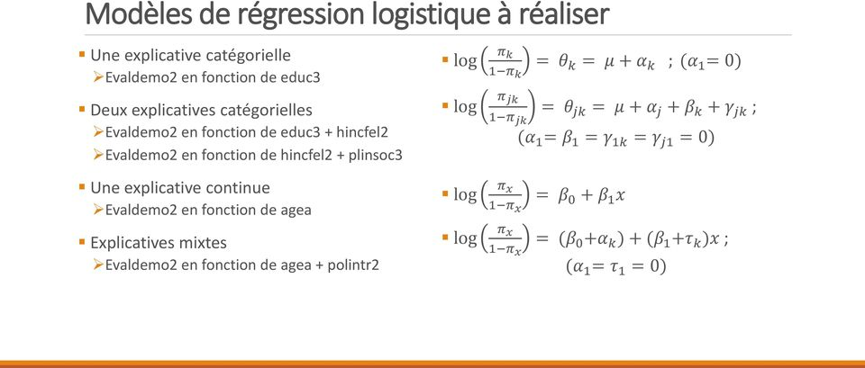 agea Explicatives mixtes Evaldemo2 en fonction de agea + polintr2 log log log log π k 1 π k = θ k = μ + α k ; (α 1 = 0) π jk 1 π jk = θ
