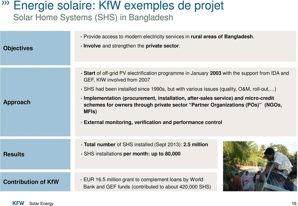 Start of off-grid PV electrification programme in January 2003 with the support from IDA and GEF, KfW involved from 2007 SHS had been installed since 1990s, but with various issues (quality, O&M,