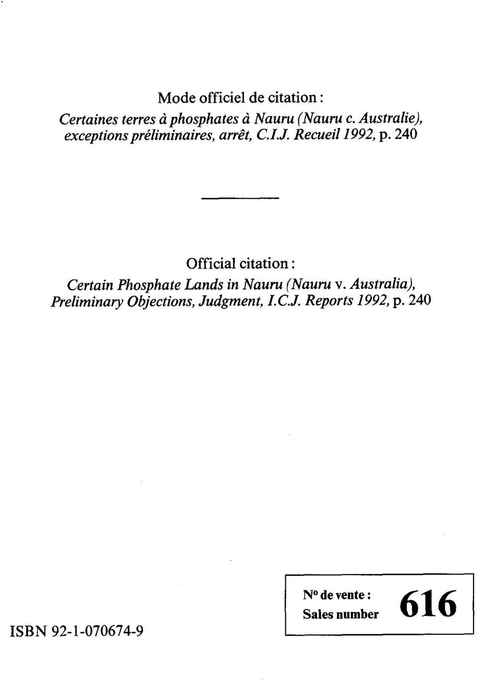240 Official citation : Certain Phosphate Lands in Nauru (Nauru v.