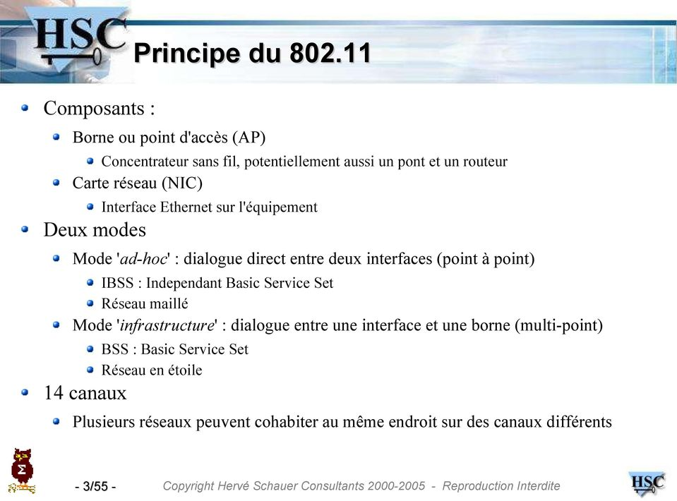 Ethernet sur l'équipement Deux modes Mode 'ad-hoc' : dialogue direct entre deux interfaces (point à point) IBSS : Independant Basic