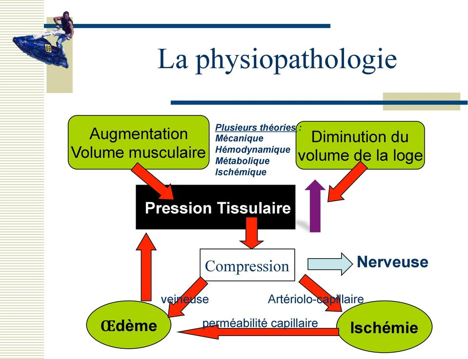 Diminution du volume de la loge Pression Tissulaire Compression