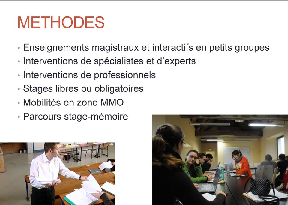 experts Interventions de professionnels Stages libres