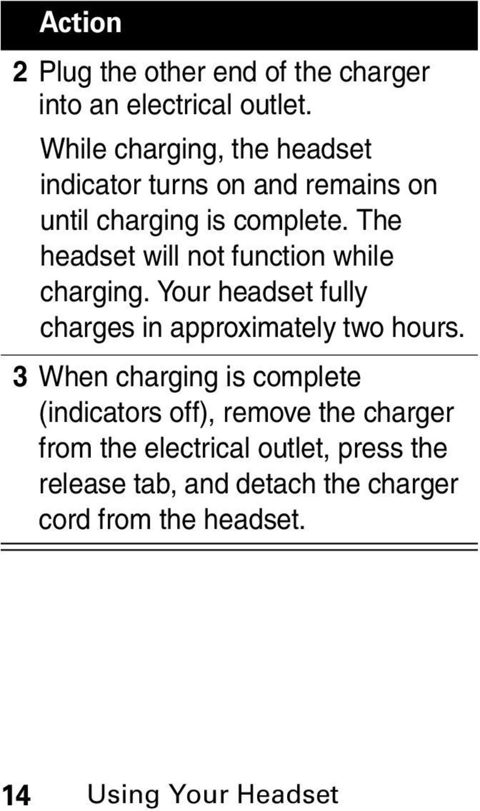 The headset will not function while charging. Your headset fully charges in approximately two hours.