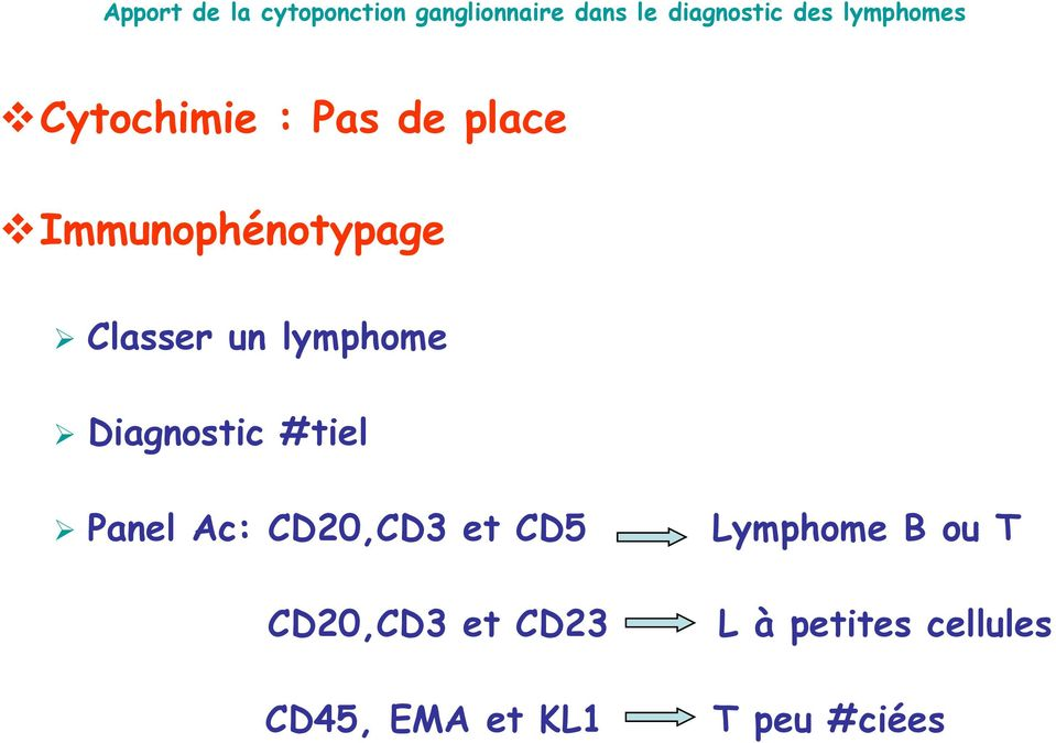 CD20,CD3 et CD5 Lymphome B ou T CD20,CD3 et