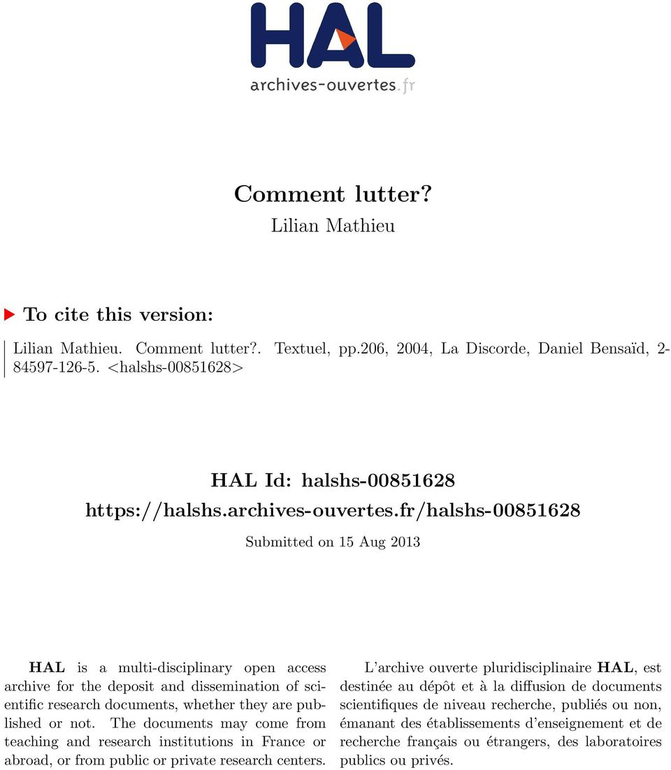 fr/halshs-00851628 Submitted on 15 Aug 2013 HAL is a multi-disciplinary open access archive for the deposit and dissemination of scientific research documents, whether they are published or not.
