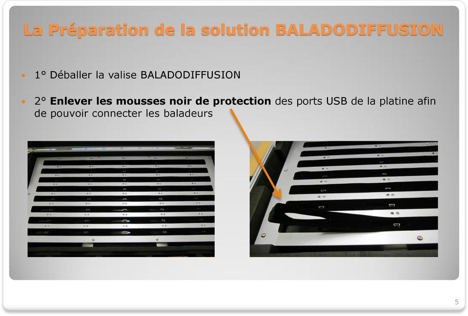 mousses noir de protection des ports USB de la